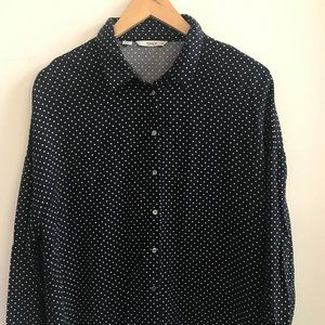 Only Women's Polka Dot Blouse Shirt  Size 40 Black
